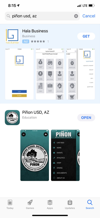Search Pinon USD in the App Store or Google Play Store