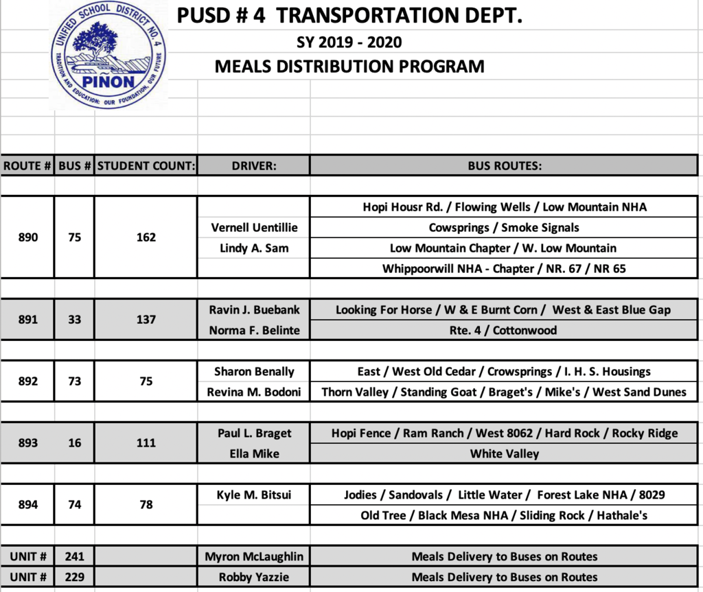 PUSD Meal Distribution Routes